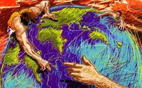 Обои абстракция, люди, земля, рука, вектор, штрих