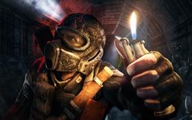 Обои темно, зажигалка, шлем, тунель, Metro: Last Light, 4A Games, Deep Silver