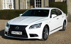 Картинка белый, фары, Lexus, лексус, передок, F-Sport, LS 460