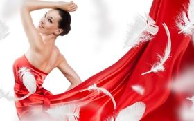 Картинка перья, платье, в красном