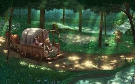 Картинка дорога, лес, указатель, повозка