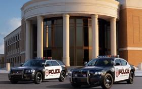 Обои здание, полиция, колонны, Dodge, седан, додж, Charger
