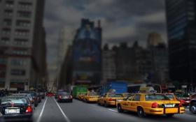 Картинка машины, улица, Нью-Йорк, Манхеттен, эффект tilt-shift