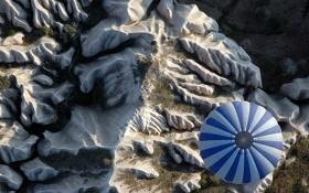 Обои горы, шар, воздушный, полёт, хребет