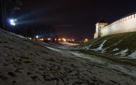 Обои фонари, фото, ночь, крепость, Новгород, Россия, город
