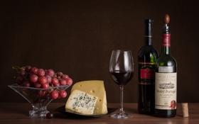 Картинка бокал, сыр, виноград, красное вино