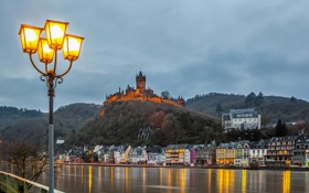 Обои небо, облака, город, река, замок, дома, Германия
