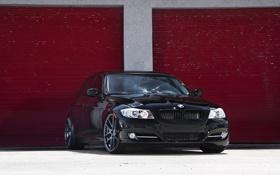 Картинка черный, бмв, BMW, перед, black, E90, 3 серия