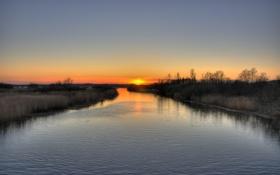Картинка закат, река, серый, вечер