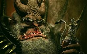 Обои трубка, красавчег, рога, демон