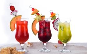 Картинка пляж, коктейль, ice, summer, напиток, фрукты, beach