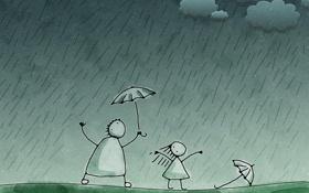 Обои дождь, рисунок, vladstudio, зеленый фон, зарисовка