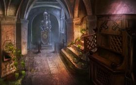 Обои замок, растение, доспехи, арт, ограждение, ступени, рыцарь