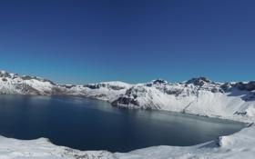 Обои Lake, Панорама, Multi Monitors, Зима, Скалы, Природа, Пейзаж