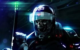 Обои охрана, шлем, спецназ, дубинка, мертвец