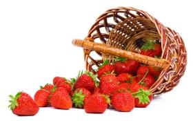 Обои ягоды, клубника, корзинка