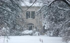Картинка зима, снег, дом, метель