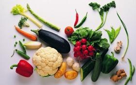 Обои грибы, корень, еда, морковка, огурец, горох, баклажан