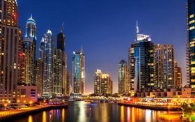 Обои ночь, огни, река, небоскребы, лодки, катера, Dubai