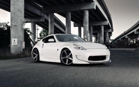 Картинка белый, мост, тюнинг, эстакада, спорткар, автомобиль, ниссан