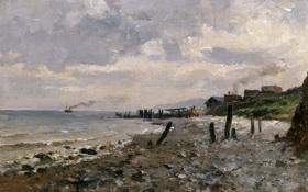 Обои берег, корабль, дома, картина, морской пейзаж, Карлос де Хаэс, Побережье Виллервиля