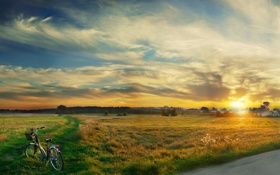 Обои дорога, трава, велосипед, туман, здания, утро, постройки