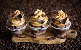 Картинка желтый, кофе, шоколад, зерна, доска, крем, десерт