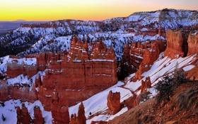 Картинка снег, закат, скалы, каньон, Bryce canyon, Utah