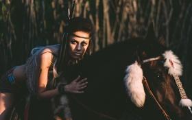 Картинка девушка, конь, лошадь, брюнетка
