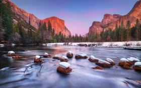 Картинка лес, горы, природа, река, водопад, национальный парк
