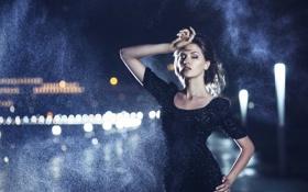 Картинка девушка, city, город, дождь, ночные огни, шатенка, night lights