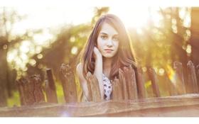 Картинка девушка, солнце, лучи, настроение, забор, Боке.