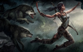 Картинка девушка, прыжок, волки, Tomb Raider, Лара Крофт