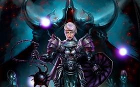 Картинка crusader, Reaper of Souls, Diablo 3, девушка, Malthael, оружие