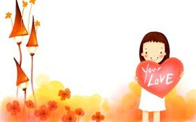 Обои цветы, улыбка, девочка, домики, сердечко