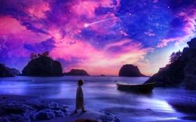 Обои песок, море, фиолетовый, небо, вода, пейзаж, камни