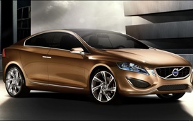 Обои car, авто, небо, свет, фары, тень, Volvo