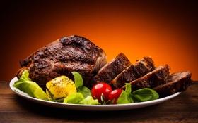 Обои мясо, помидор, блюдо, картофель, жареное мясо
