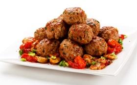Обои мясо, овощи, помидоры, tomatoes, котлеты, meat, cutlets