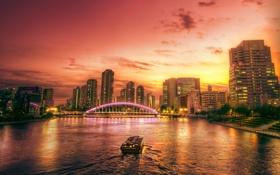 Картинка закат, мост, город, огни, река, дома, вечер