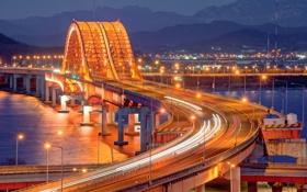 Картинка ночь, мост, город, огни, вечер