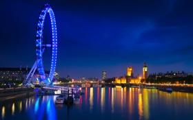 Обои река, Лондон, Англия, колесо, ночь, огни, Темза