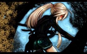 Обои черный, Девушка, катана, кролик, воин, самурай