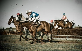 Обои obstacle, horses, mud, jockey, horse race
