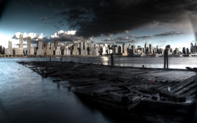 Обои river, new york city, hudson