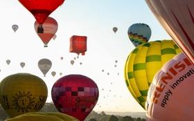 Картинка небо, полет, пейзаж, воздушный шар