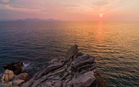 Картинка закат, камни, скалы, небо, солнце, пейзаж, море