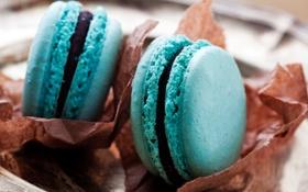 Картинка голубое, еда, печенье, сладости, десерт, выпечка, макарун