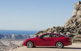 Картинка Красный, Море, Авто, Машина, День, Mercedes, Автомобиль