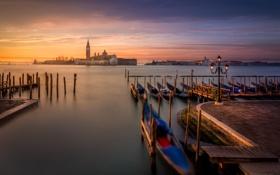 Картинка рассвет, остров, Италия, церковь, фонарь, Венеция, канал